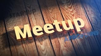 Word Meetup on wood planks